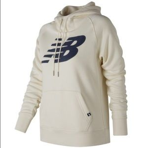 New Balance Essentials Cream and Blue Logo Hoodie